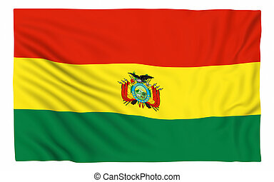 Flag of Bolivia , isolated on white.