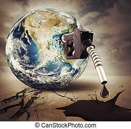 Pollution of the world - Concept of damage fuel Earth...