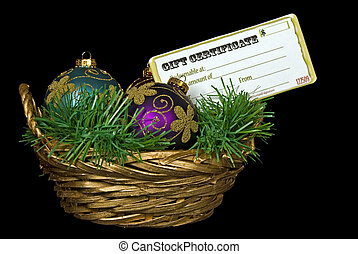 Gift Basket - Ornament and gift certificate in gold wicker...