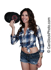 Woman with 45 records - Beautiful woman with vintage 45...