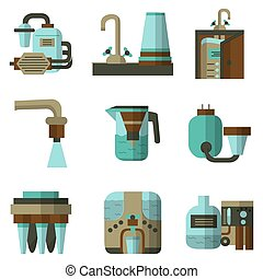 Water filters flat color vector icons - Set of flat color...
