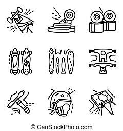 Longboard simple line vector icons set - Set of black flat...