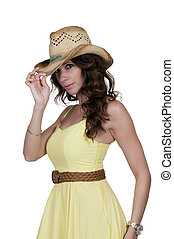 Cowgirl - Beautiful young country girl woman wearing a...