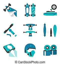 Longboard elements flat color vector icons - Set of blue...