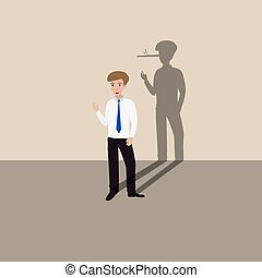 man lying - Businessman with shadow of his long nose, who is...
