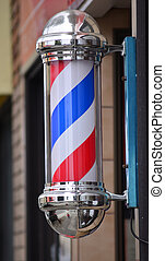 Barber pole sign - American barber pole sign with a helical...