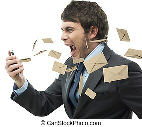 Stress work mail - Businessman yelling for too many email...
