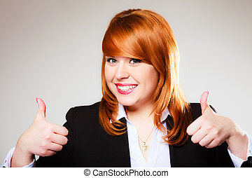 business woman giving thumbs up sign - Business, gesture and...