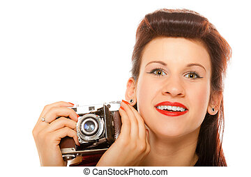 Lovely teen girl with old camera - Beautiful photographer...