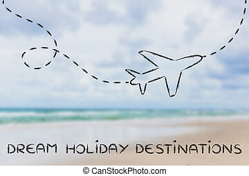 dream holiday destination: airplane and blurred beach background