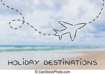 airplane and blurred beach background, holiday destination