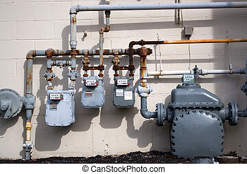 Natural Gas Pipes - Old natural gas utility pipes and meters...