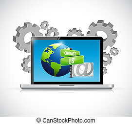 contact us mail computer laptop sign illustration design...