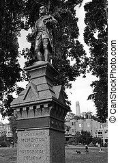 Benjamin Franklin statue in Washington Square in San...
