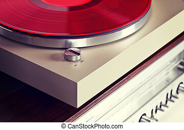 Analog Stereo Turntable Vinyl Record Player with Red Disk...