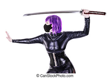 Sexy killer - Sexy masked woman holding katana, isolated on...