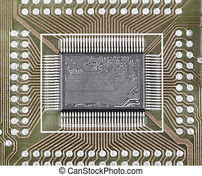 Old microcircuit on circuit board surface
