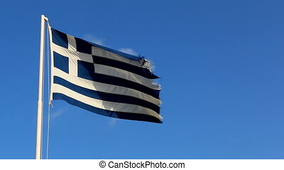 Flag of Greece against blue sky - Greek blue and white cross...