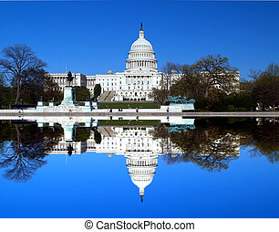 The Capitol building in Washington DC with symmetric...