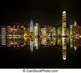 Hongkong skylines at night with a symmetric reflection