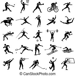 sport icon set - beautiful silhouette sport icon set in...
