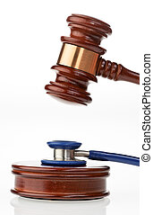 Stethoscope and Gavel - Stethoscope and gavel. Vertically...
