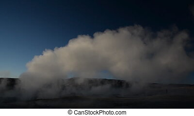 Geyser in Uyuni, Bolivia - Steaming geyser seen near Uyuni,...