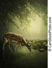 Woodland deer at dawn drinks water from river under the...