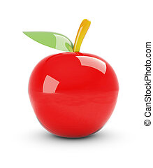 Glass apple , This is a computer generated and 3d rendered...