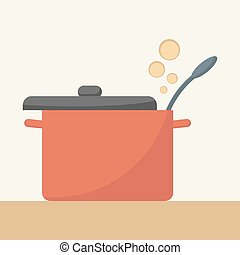 Saucepan with lid open. Simple flat vector,eps 10.
