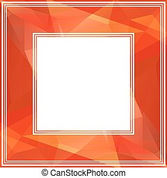 red border - Polygonal abstract background with bright red...