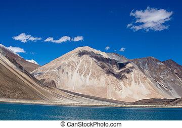Pangong Lake, Ladakh, India - The sunny day at Pangong Lake....