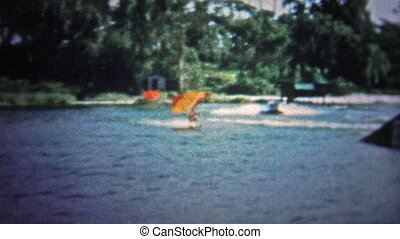 FT LAUDERDALE, USA - 1957: Waterskiers - Unique vintage 8mm...
