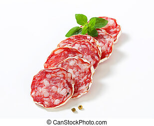 Sliced French Saucisson Sec - studio shot