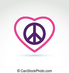 Peace and love theme - antiwar and love vector icons, loving heart sign with peace symbol from 60th. Harmony relationship illustration isolated on white background.