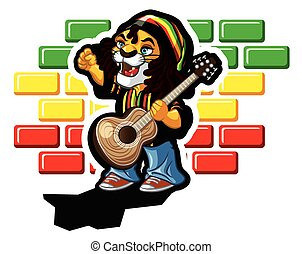Reggae lion - Illustration of reggae lion with guitar and...
