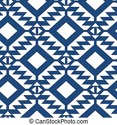 Tribal blue and white geometric seamless pattern.