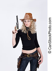Cowgirl - Young woman sressed ina western style