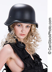 Military Girl - Young blonde woman dressed in military style...
