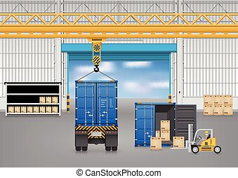 Forklift_truck - Forklift working with truck and carton...