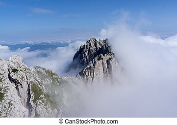 mountain peak in clouds