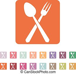 The spoon and fork icon. Spoon and fork symbol. Flat Vector...
