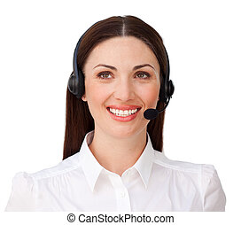 Smiling attractive businesswoman with headset on isolated on...