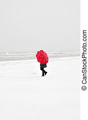 person in the snowy storm - person on the beach with red...