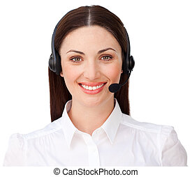Young customer service agent with headset on against a white...