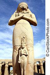 Ramses II statue and Nefertari in Karnak temple