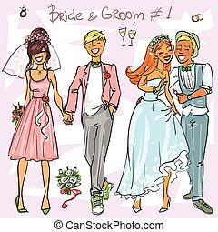Bride and Groom set 1, Hand drawn Wedding Couples