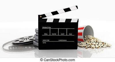 Clapper, film strip, popcorn