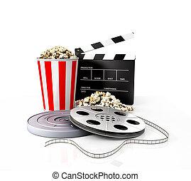 Film strip vs holder, clapper, popcorn