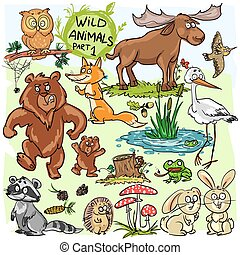 Wild animals, hand drawn collection, part 1. All animals are...